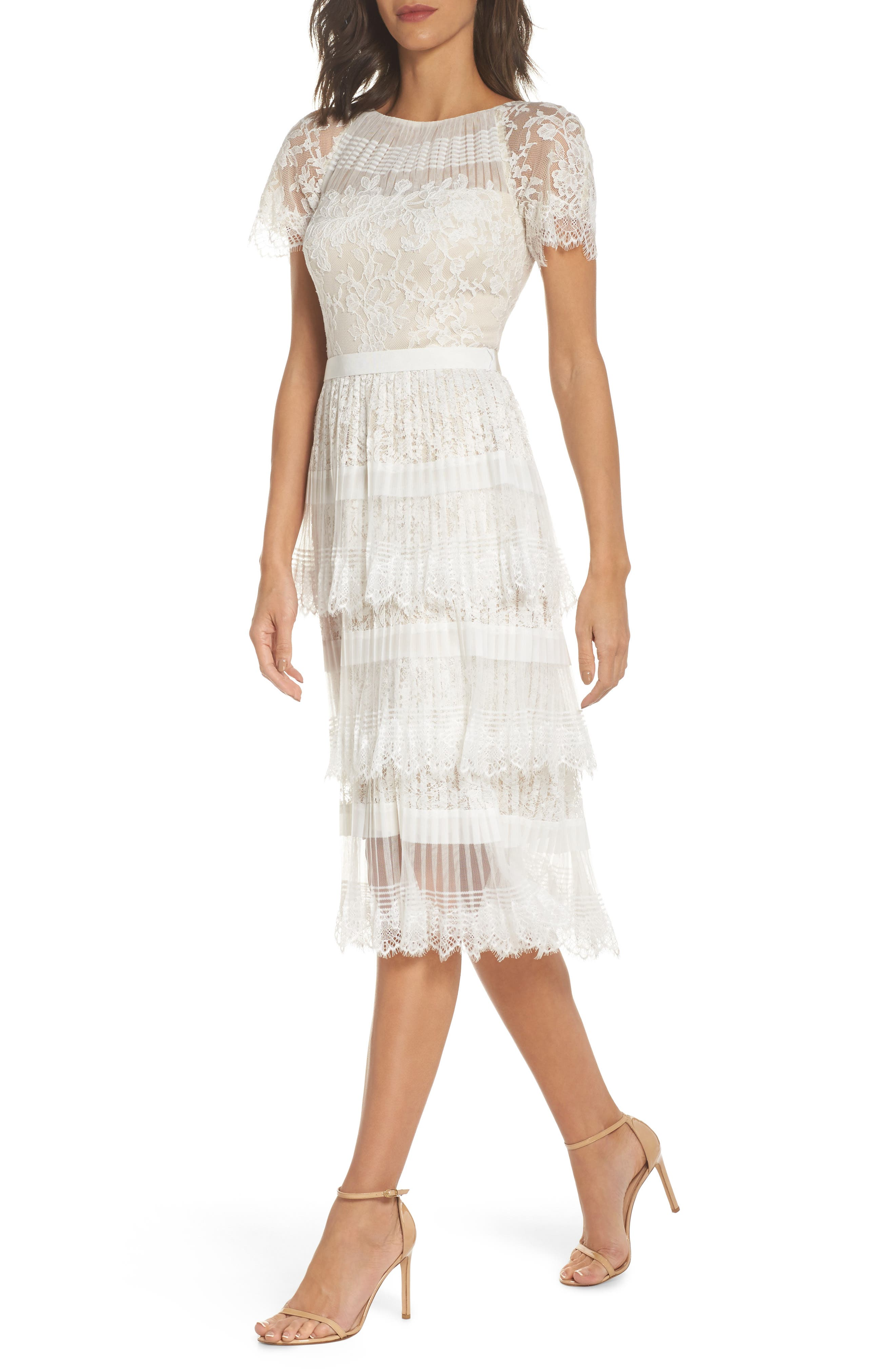 Nixie Tea Length Lace Dress,                             Main thumbnail 1, color,                             White/ Nude