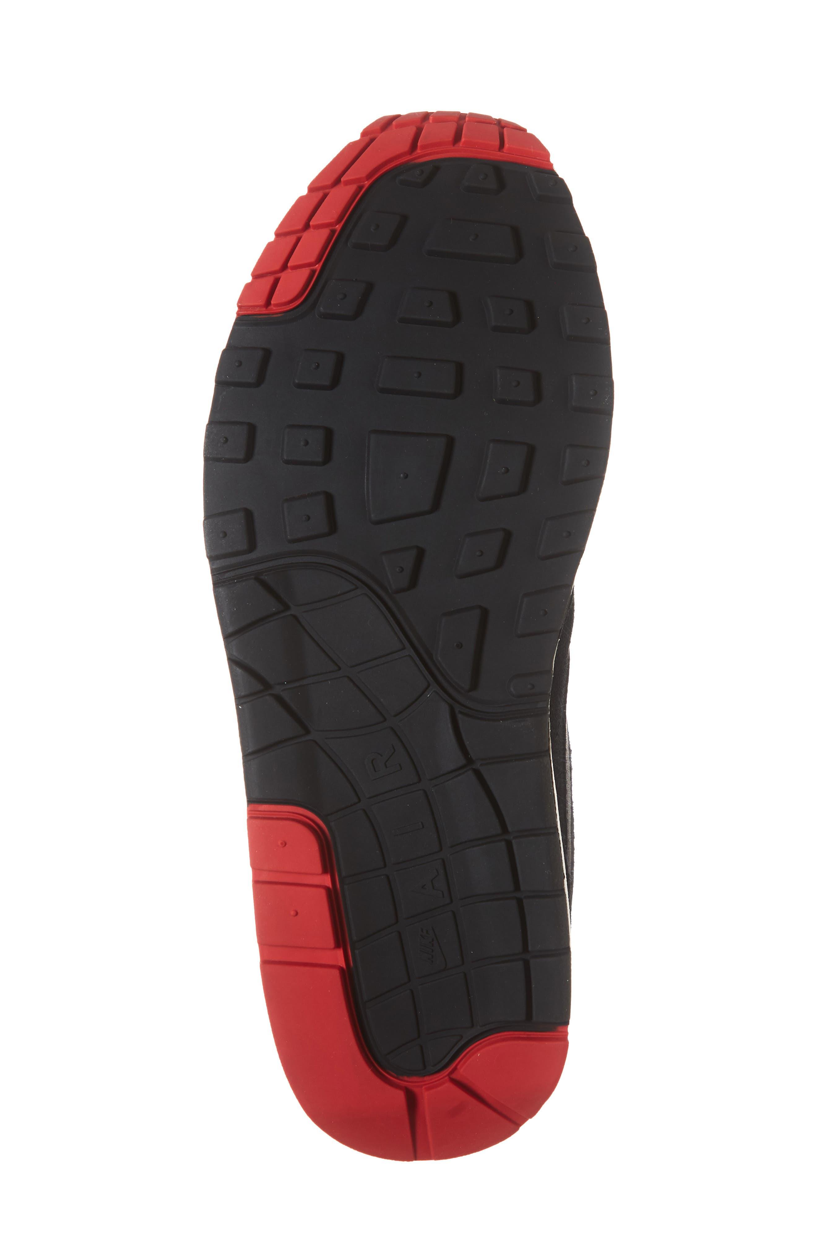 Air Max 1 Premium Sneaker,                             Alternate thumbnail 6, color,                             Black/ Grey/ University Red