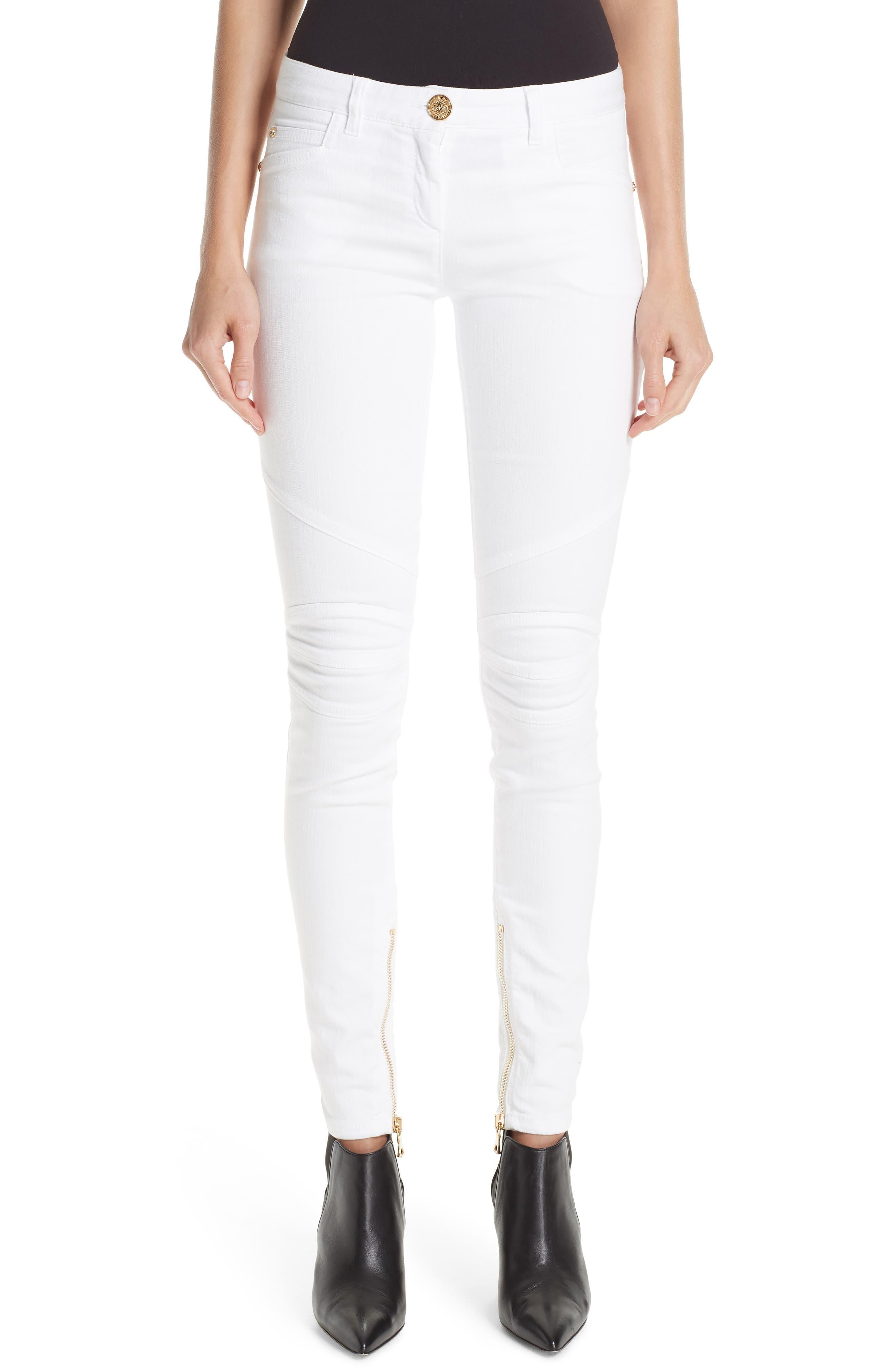 Skinny Moto Jeans, White
