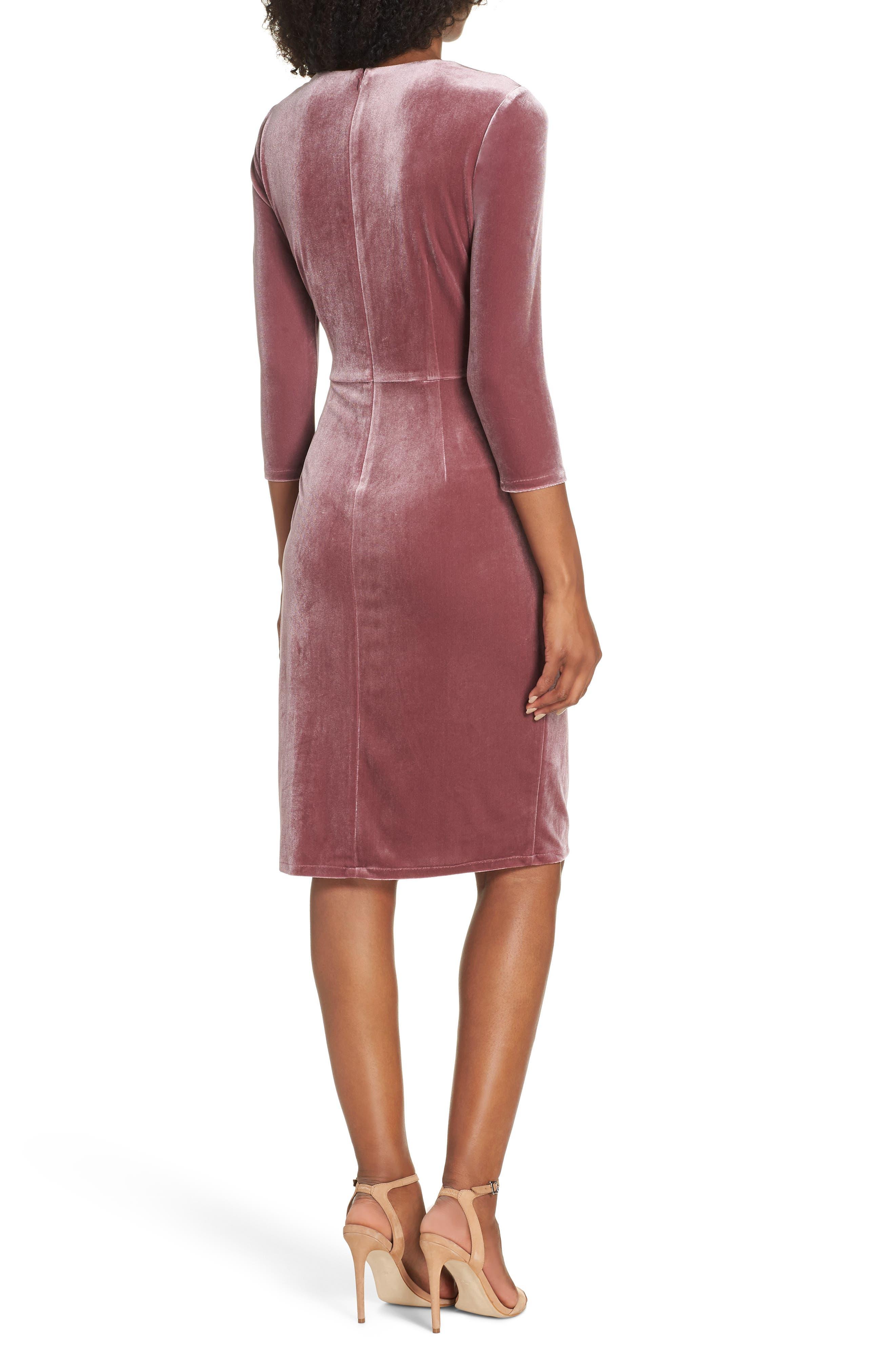 Velvet Sheath Dress,                             Alternate thumbnail 2, color,                             Rose