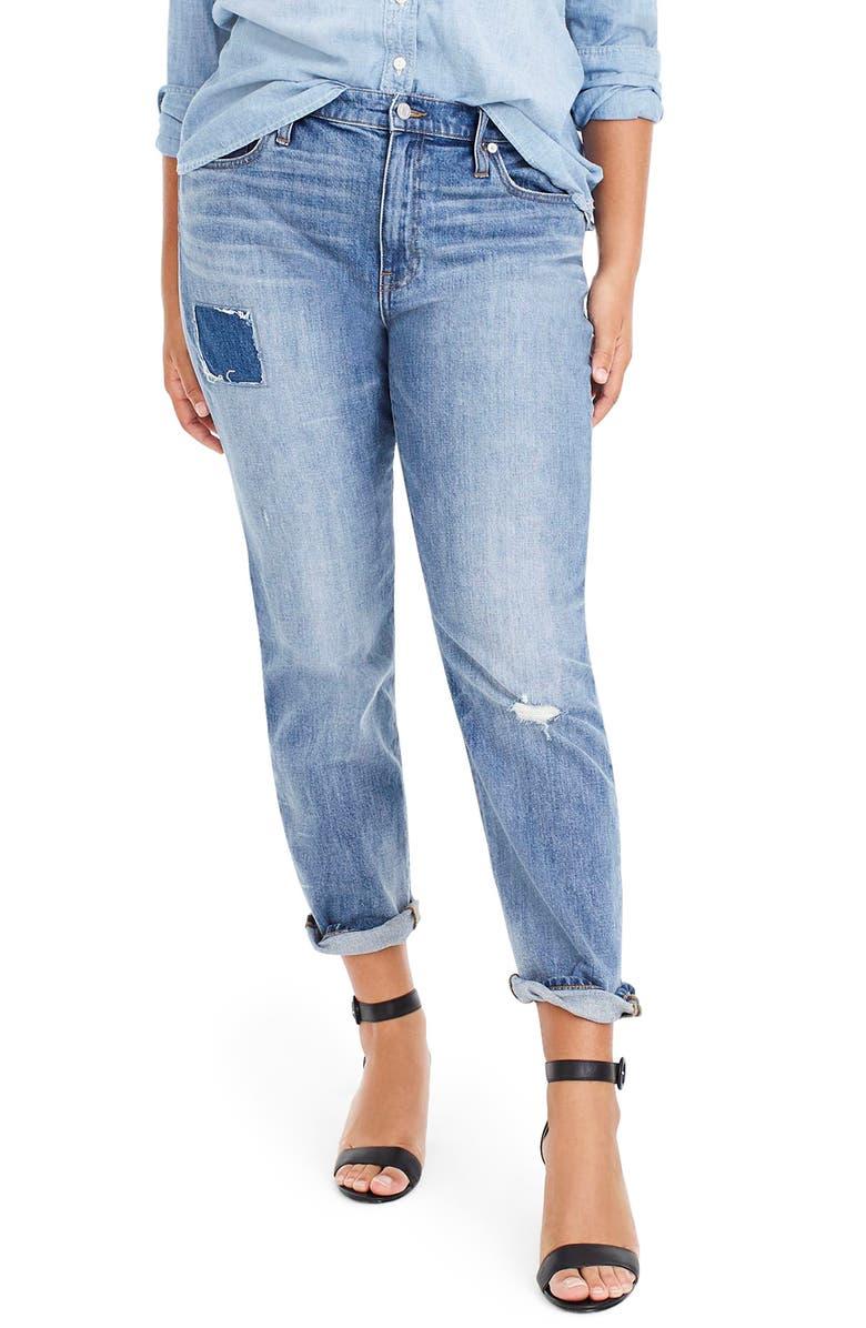 Patched & Distressed Slim Boyfriend Jeans