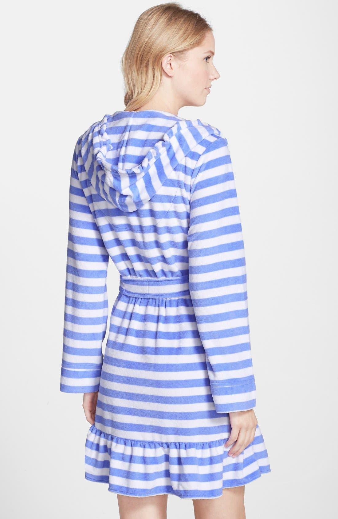 Alternate Image 2  - Betsey Johnson Hooded Stripe Terry Robe