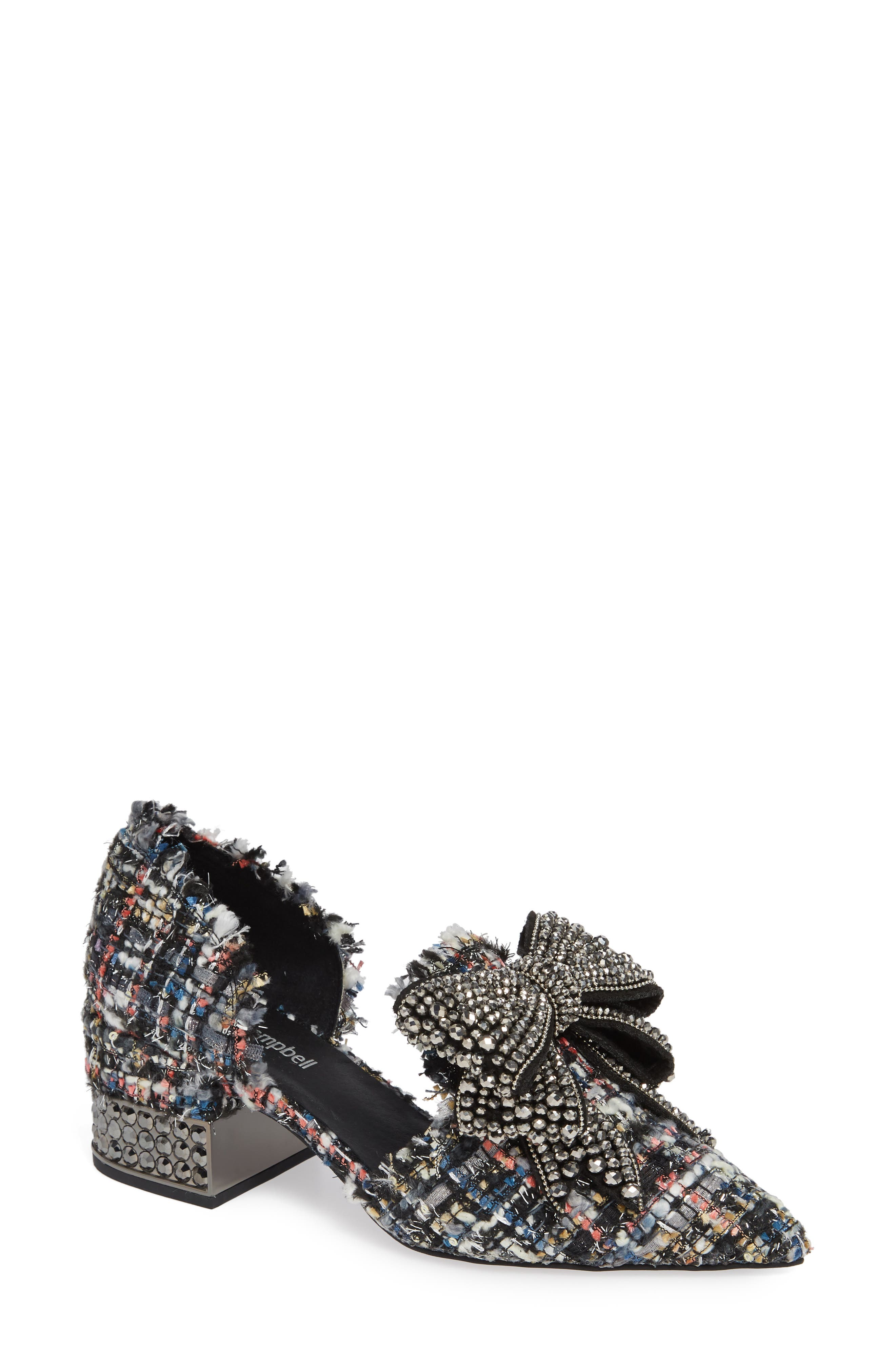 Valenti Embellished Bow Loafer,                         Main,                         color, Black Multi Tweed Pewter