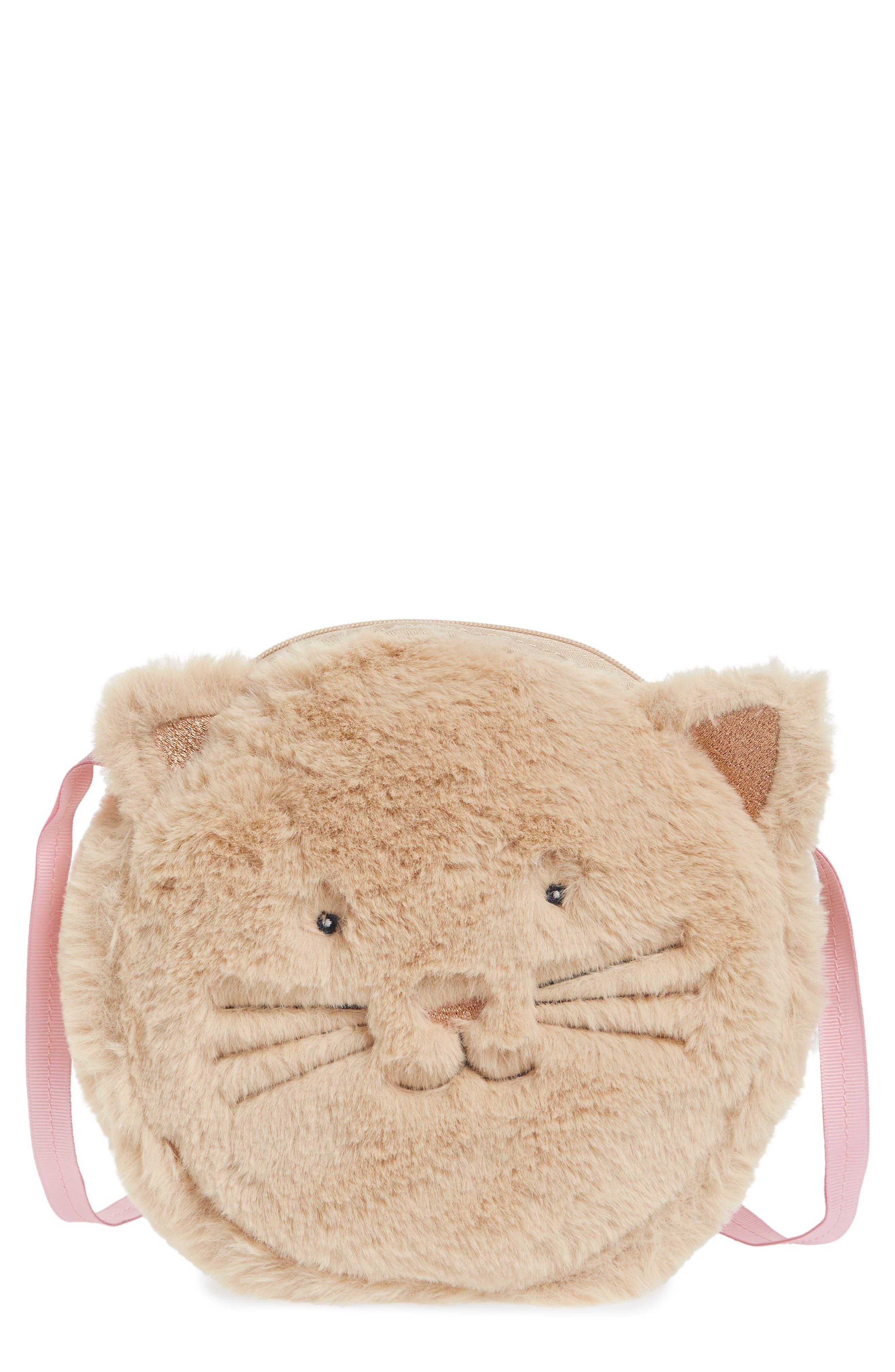 Kitty Faux Fur Crossbody Bag,                             Main thumbnail 1, color,                             Oat