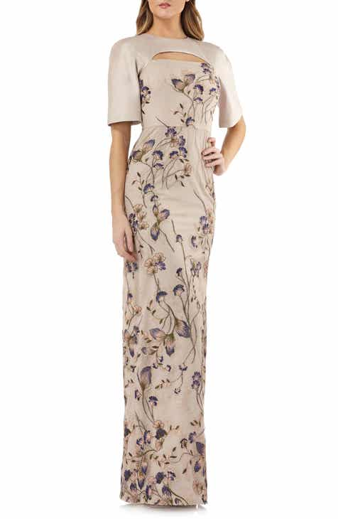 Kay Unger Cutout Detail Embroidered Beaded Gown