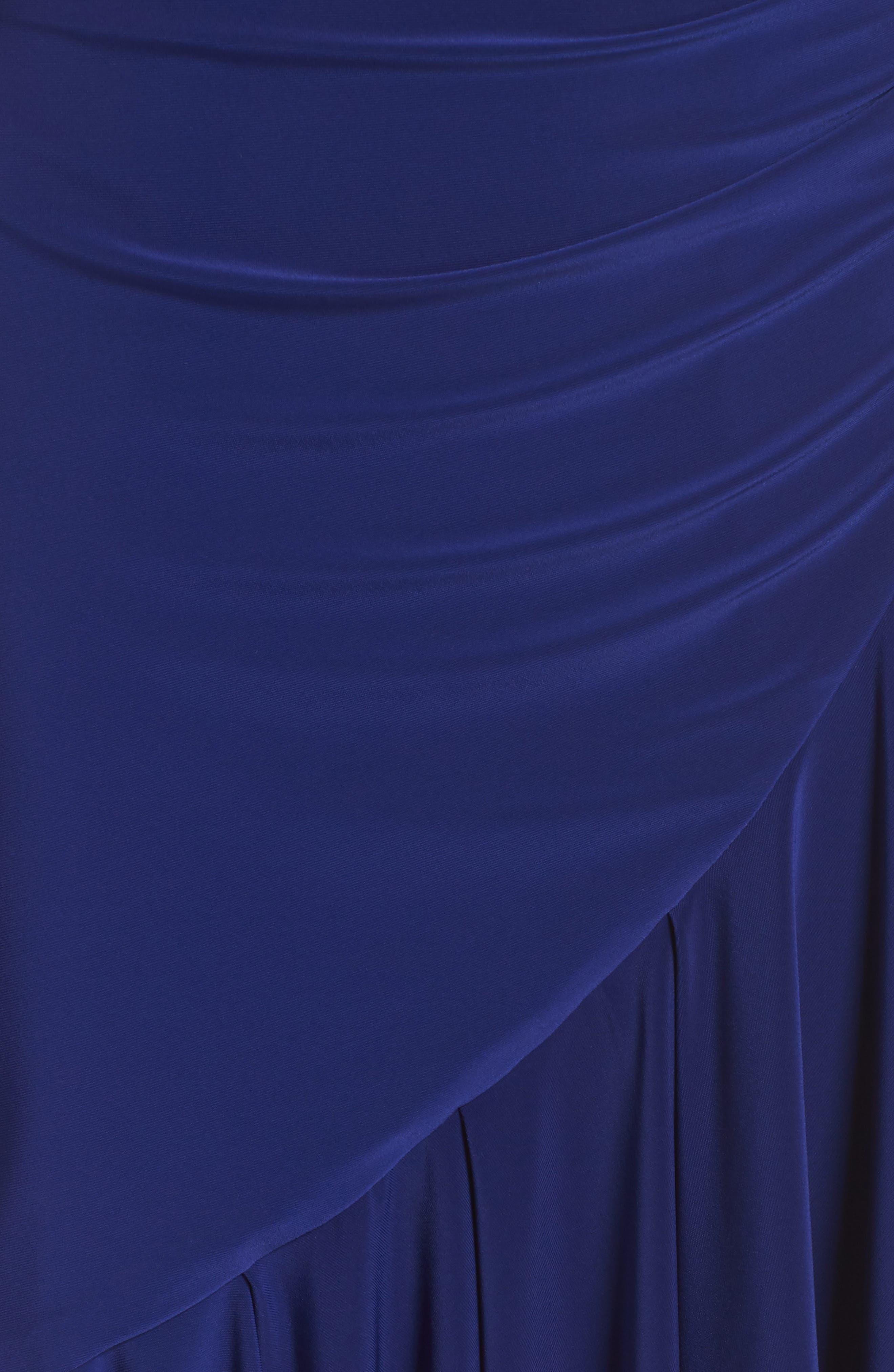Halter Cascade Dress,                             Alternate thumbnail 6, color,                             Cobalt