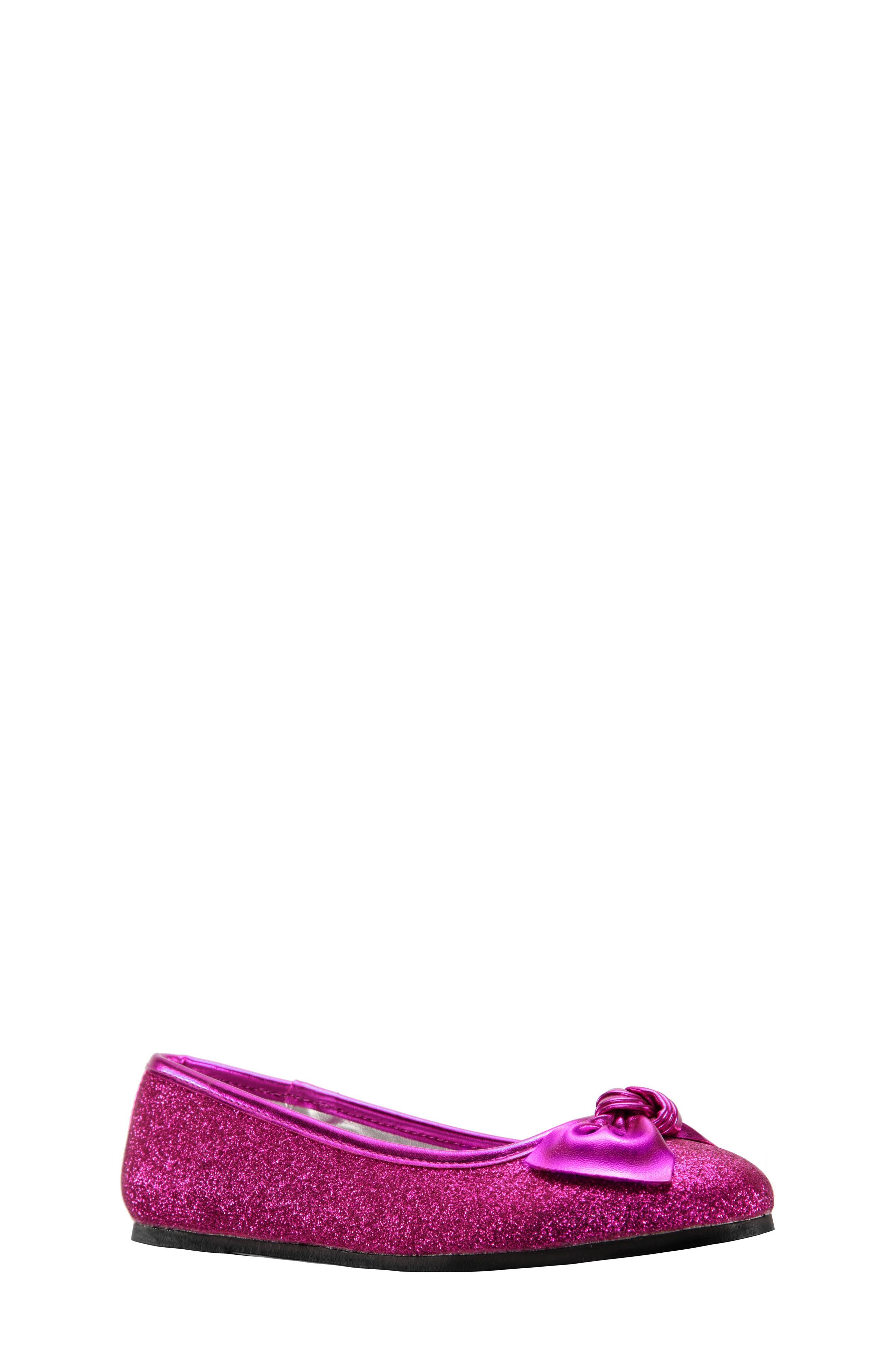 Larabeth Glitter Ballet Flat,                             Main thumbnail 1, color,                             Berry Metallic/ Glitter