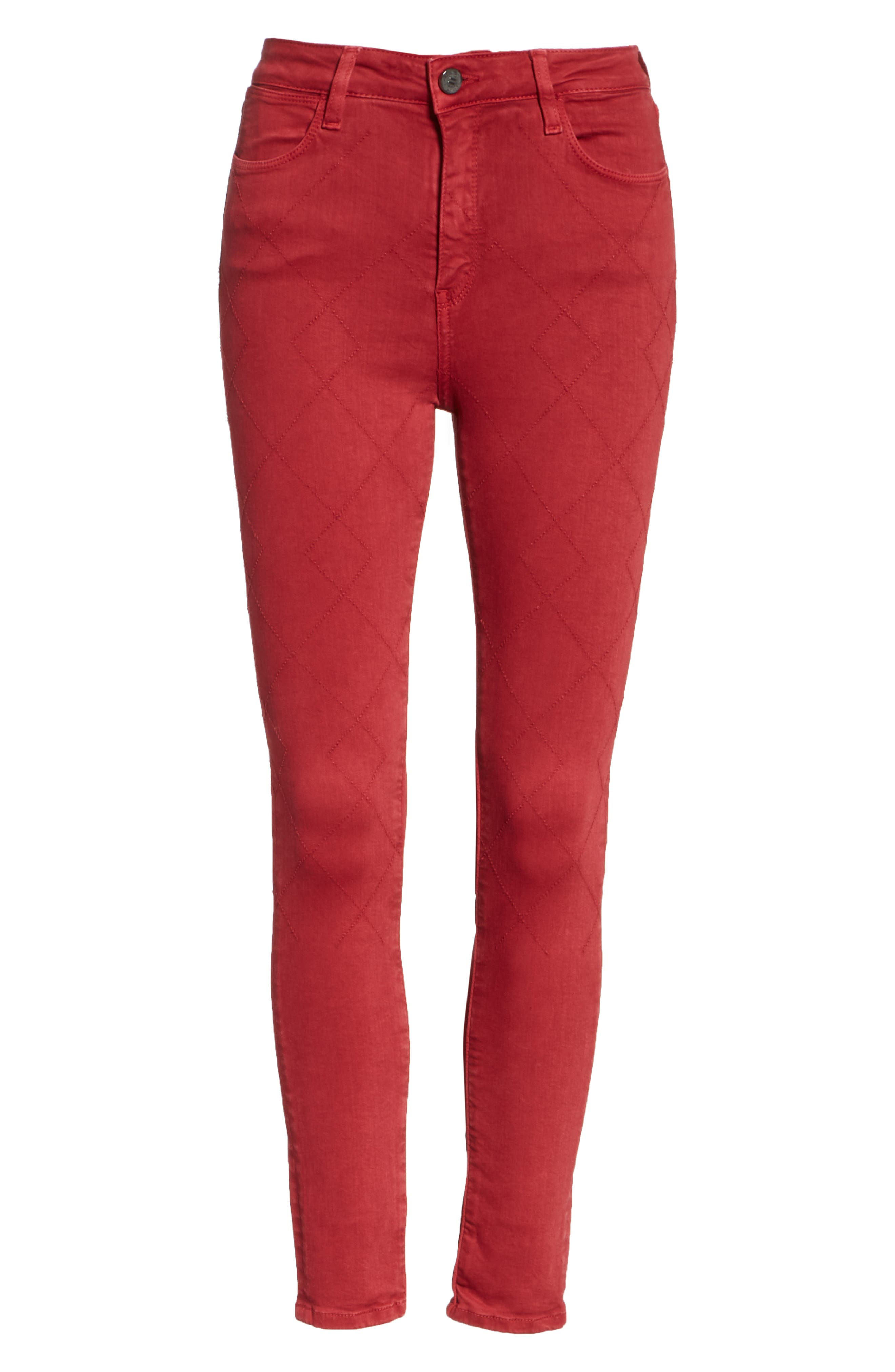 Rolling Old Reina Lattice Stitch Skinny Jeans,                             Alternate thumbnail 6, color,                             Framboise