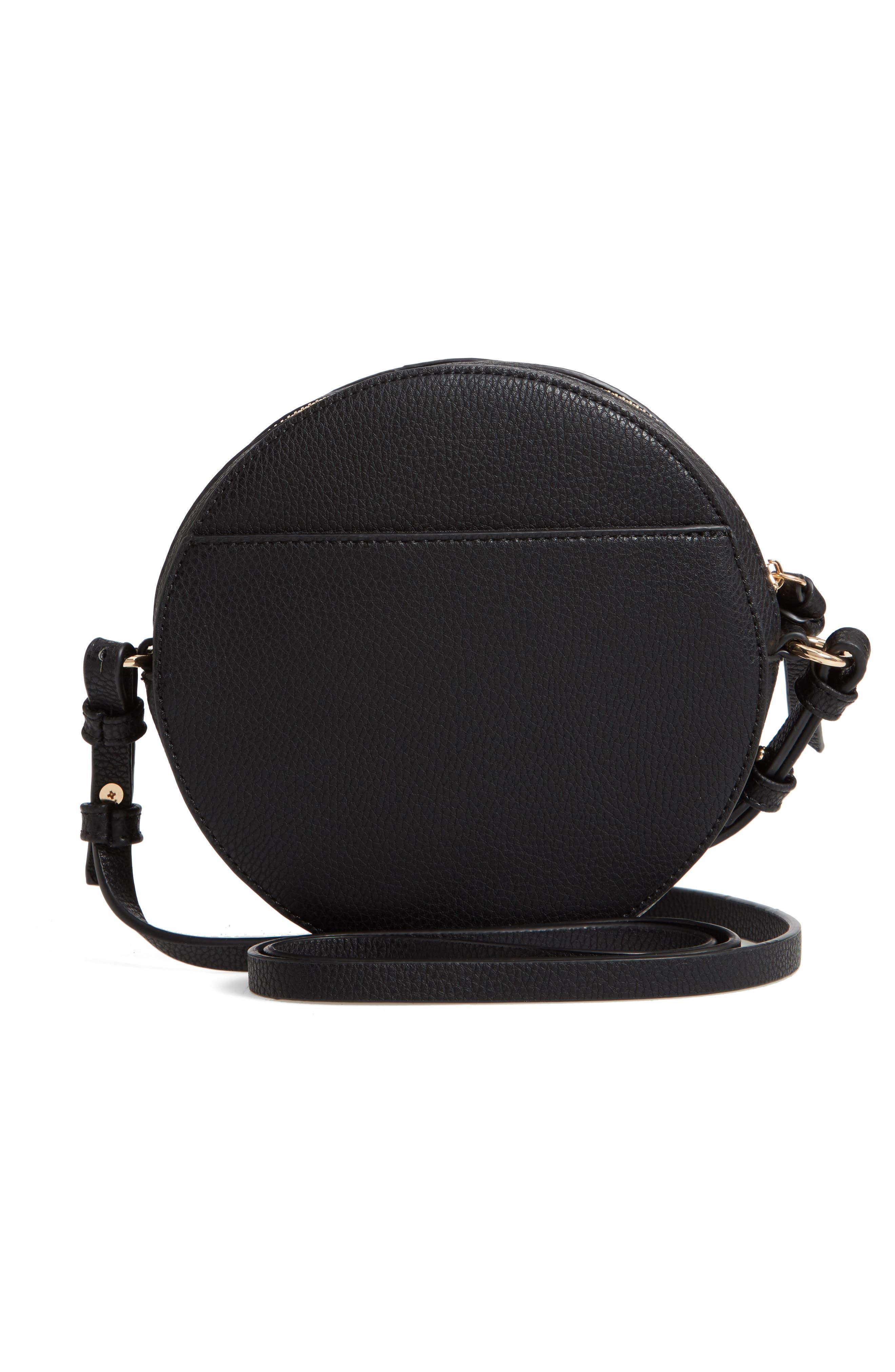 Cassie Faux Leather Circle Crossbody Bag,                             Alternate thumbnail 5, color,                             Black