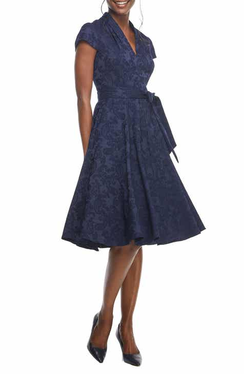 Gal Meets Glam Collection Gloria Paisley Jacquard Fit & Flare Dress (Nordstrom Exclusive)