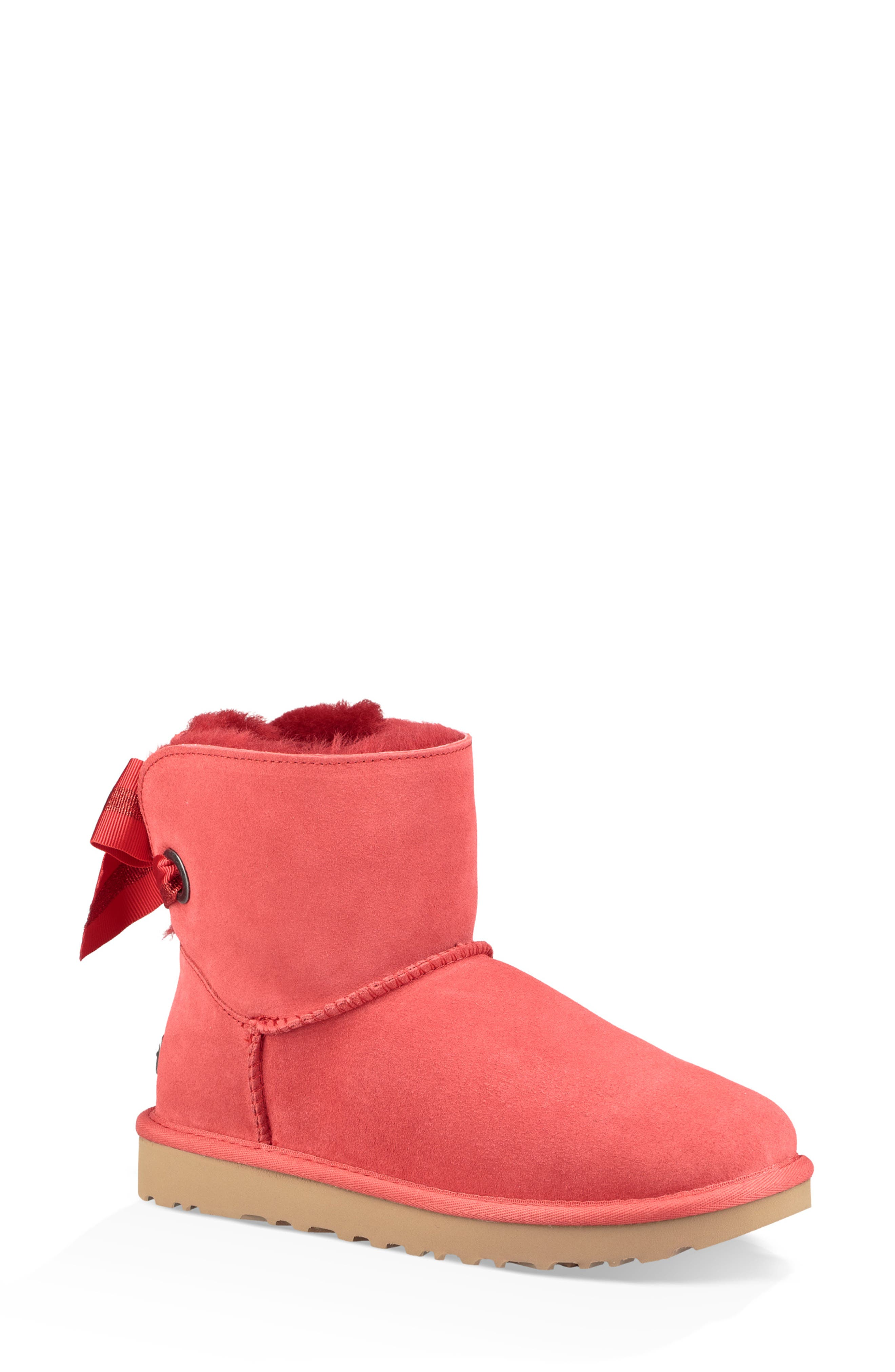 UGG® Customizable Bailey Bow Mini Genuine Shearling Bootie (Women)