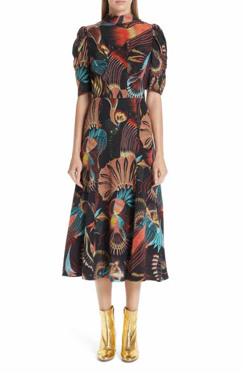 Dries Van Noten Tattoo Floral Print Silk Dress