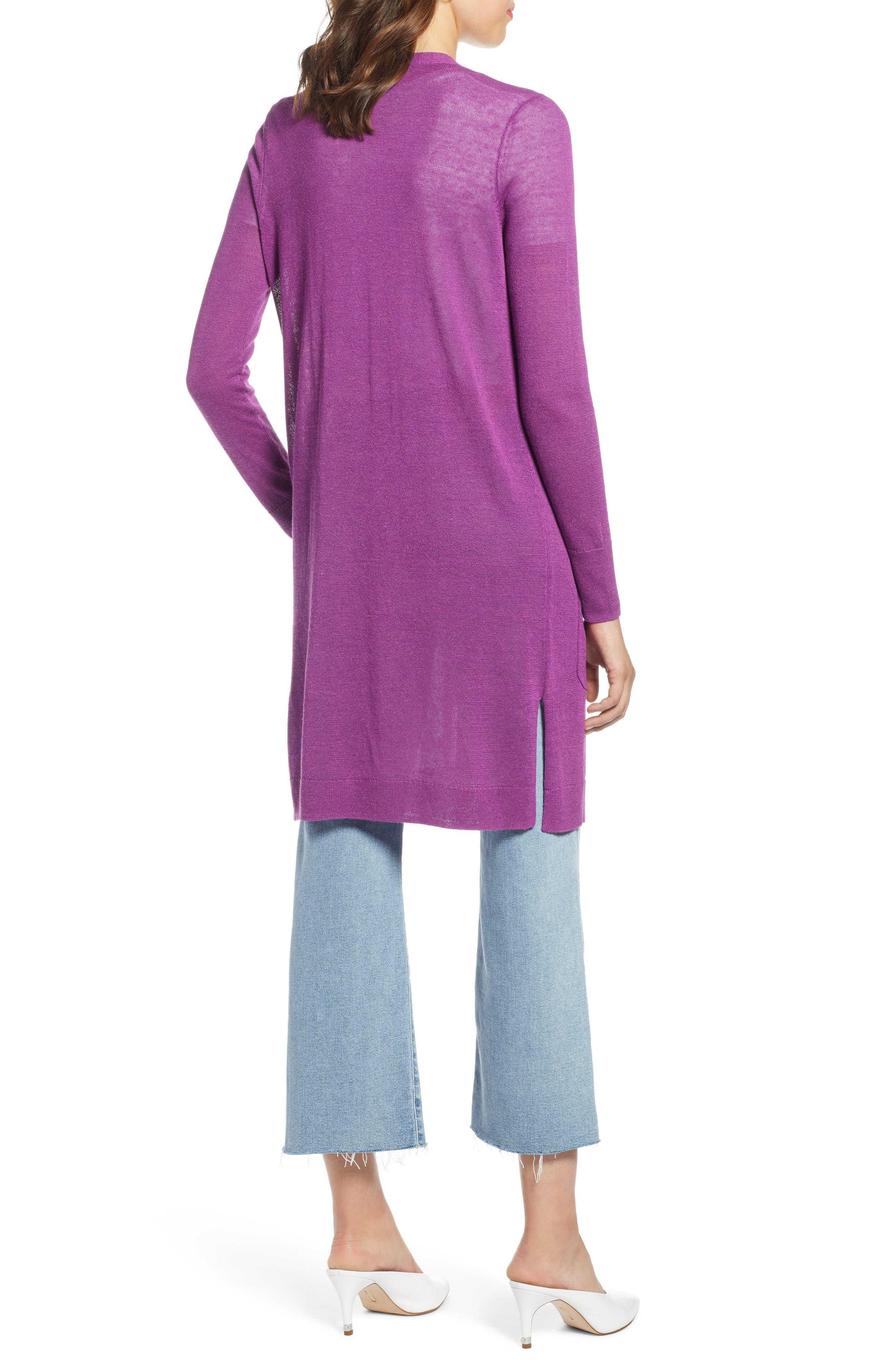 Long Linen Blend Cardigan,                             Alternate thumbnail 2, color,                             Purple Sparkle