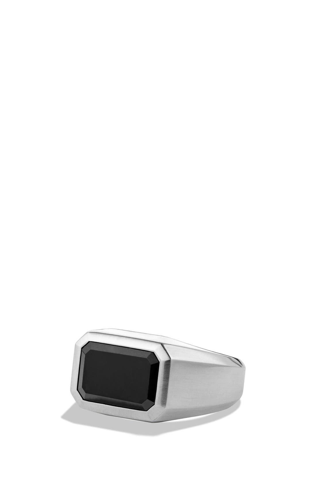 'Exotic Stone' Signet Ring with Semiprecious Stone,                         Main,                         color, Black Jade