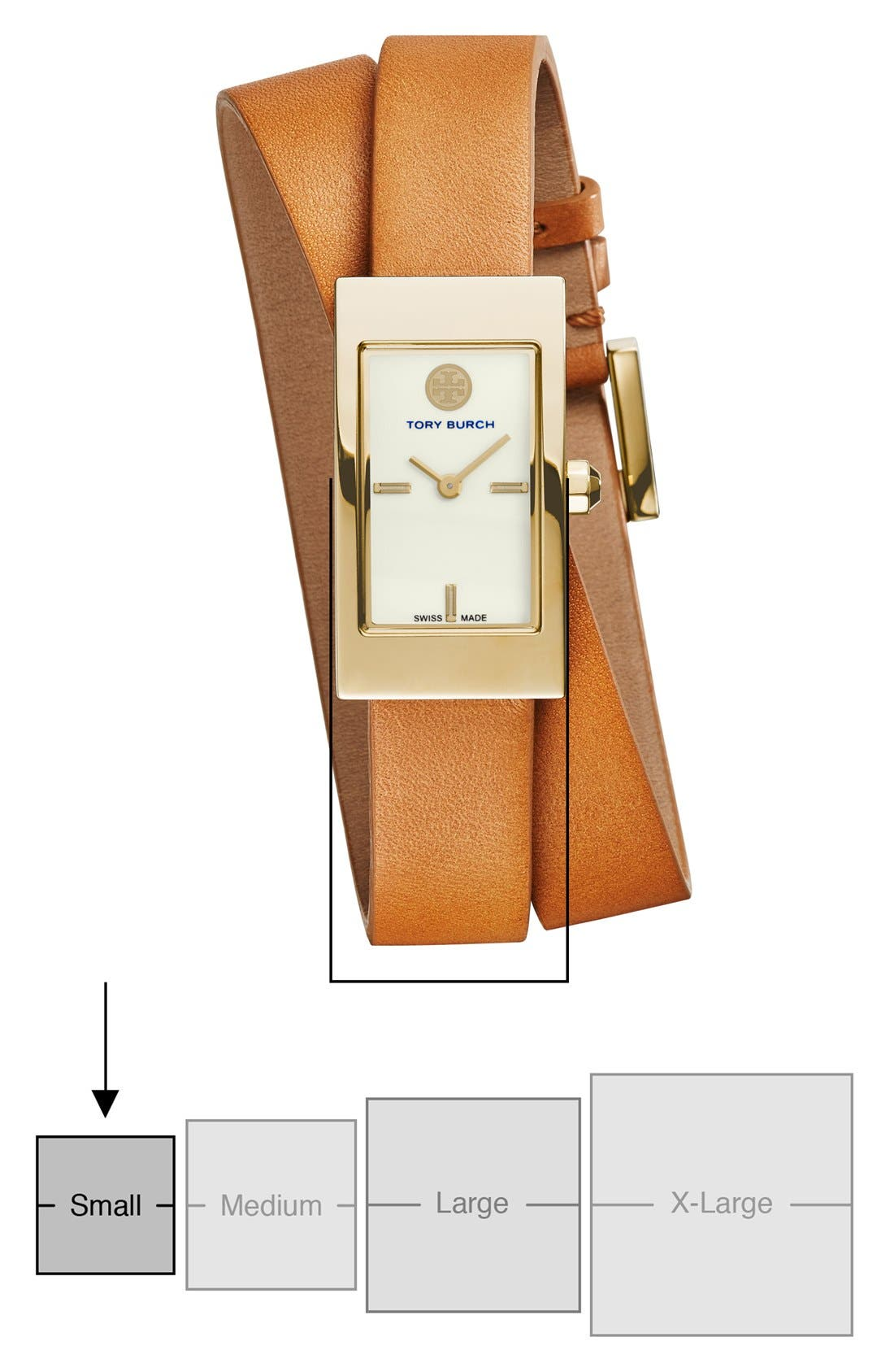 'Buddy Signature' Rectangular Wrap Leather Strap Watch, 17mm x 31mm,                             Alternate thumbnail 7, color,                             Luggage/ Gold