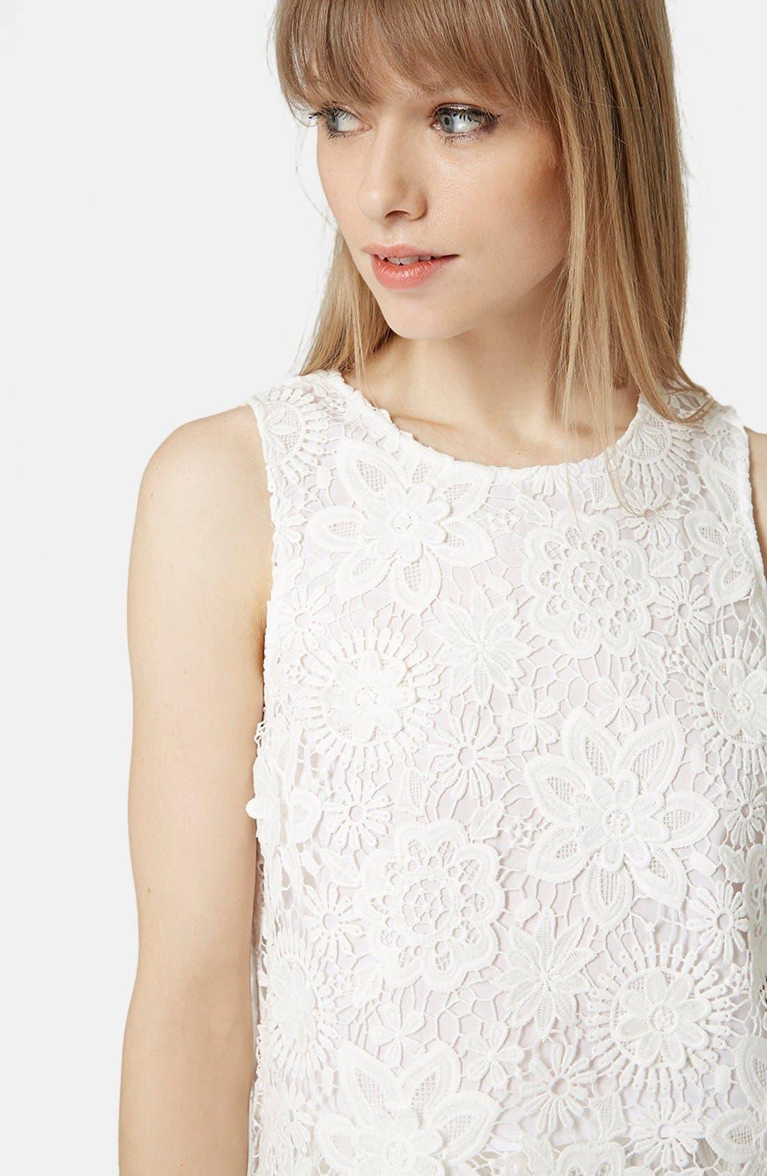 Alternate Image 4  - Topshop Crochet Lace Shell Top (Petite)