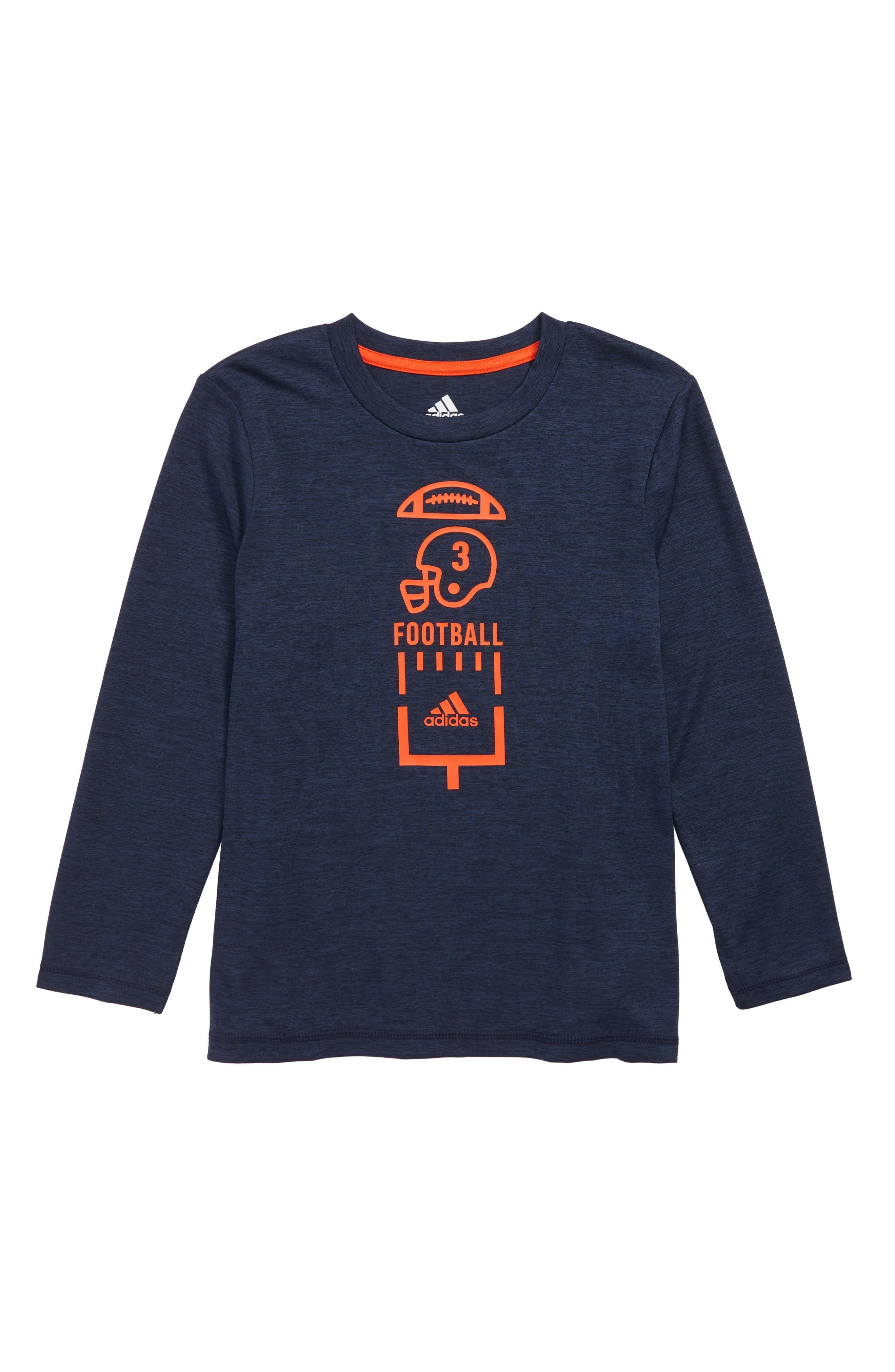 Football Vertical Collage T-Shirt,                             Main thumbnail 1, color,                             Navy