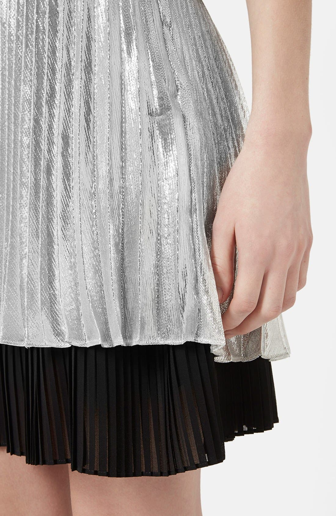 'Sun Ray' Two Tier Pleated Skirt,                             Alternate thumbnail 5, color,                             Silver