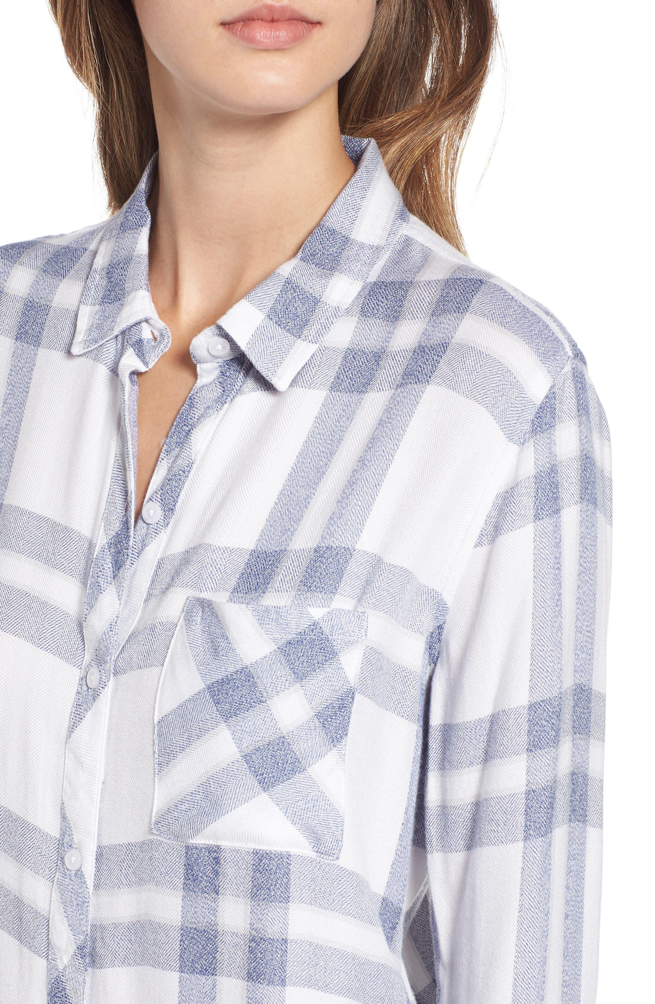 Hunter Plaid Shirt,                             Alternate thumbnail 3, color,                             Riverstone White