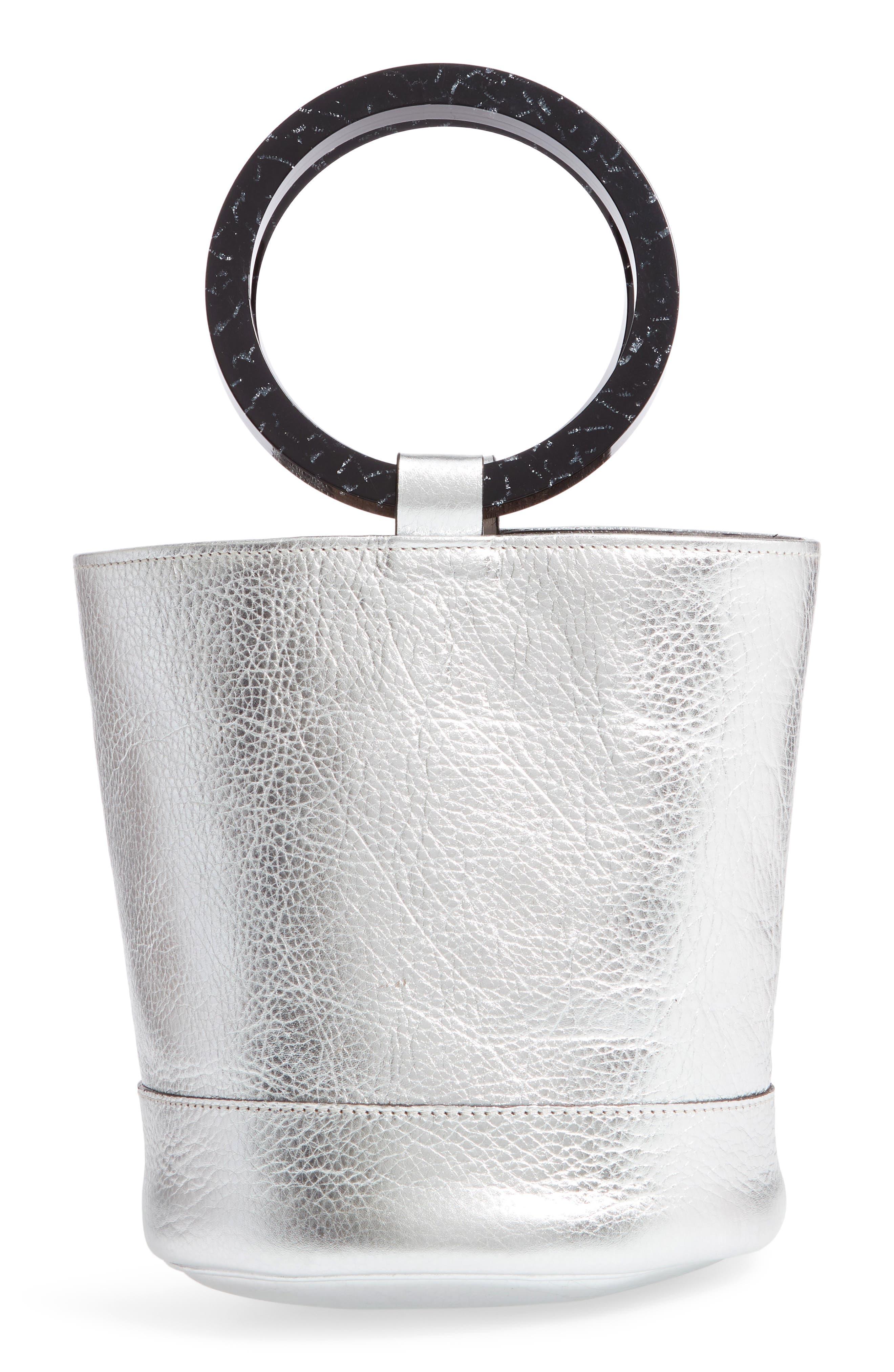 Bonsai 20 Pebbled Leather Bucket Bag,                         Main,                         color, Silver