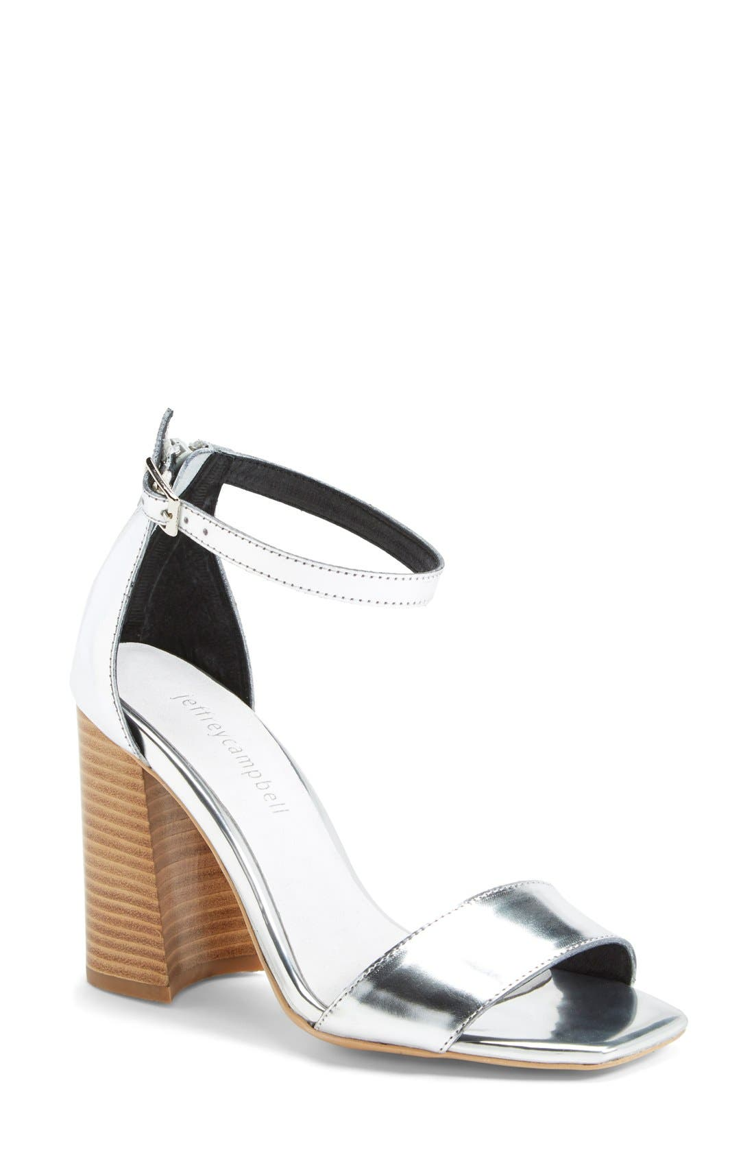 Alternate Image 1 Selected - Jeffrey Campbell 'Manor' Metallic Leather Ankle Strap Sandal (Women)
