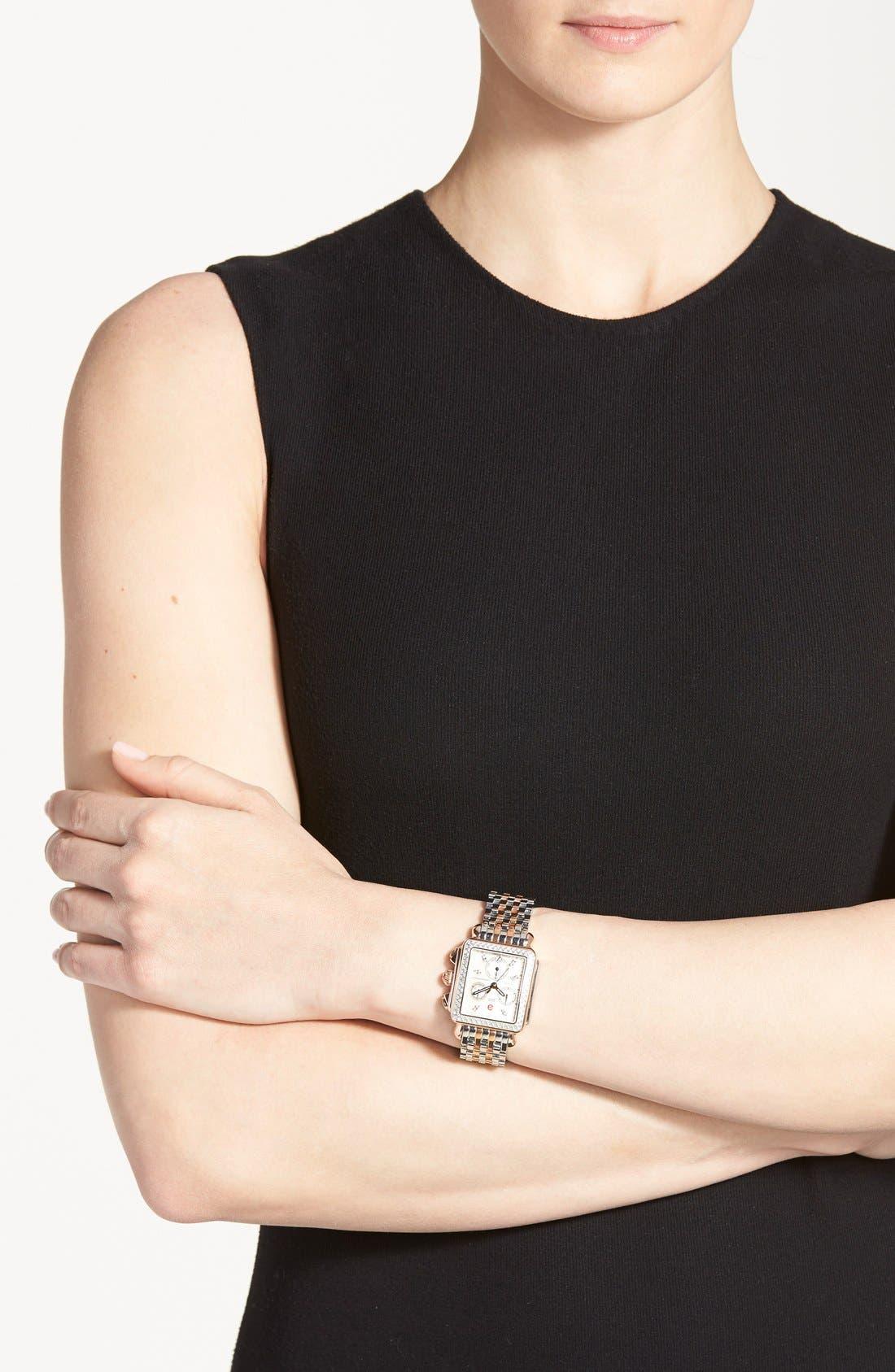 Deco Diamond Diamond Dial Watch Case, 33mm x 35mm,                             Alternate thumbnail 3, color,                             Silver/ Rose Gold