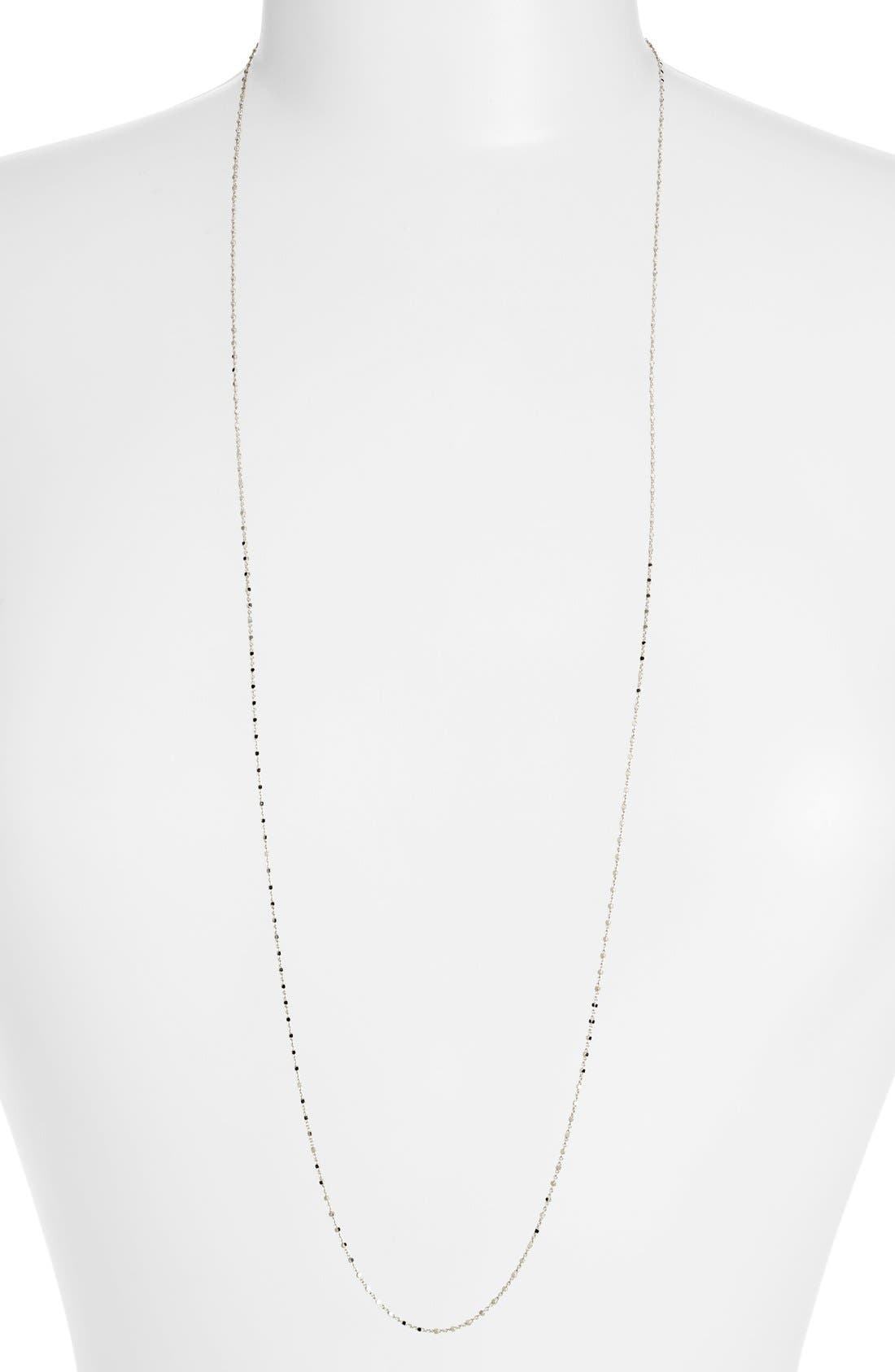Beaded Chain Long Necklace,                         Main,                         color, White Gold
