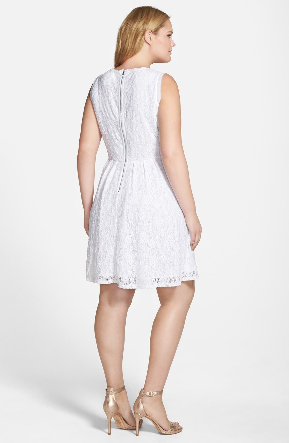 Alternate Image 2  - Two by Vince Camuto Floral Lace Babydoll Dress (Plus Size)