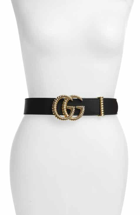 73142bc9c8555a Gucci Textured GG Logo Leather Belt
