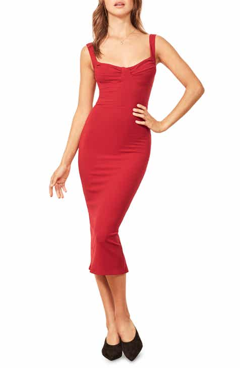 Reformation Adrian Sweetheart Neck Body Con Dress
