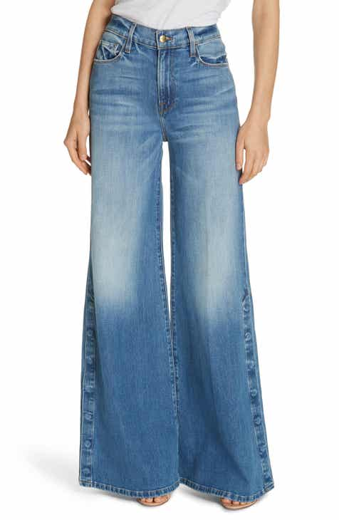 FRAME Le Palazzo Snap Away Hem Wide Leg Jeans (Snow Mass) 087f09d27665