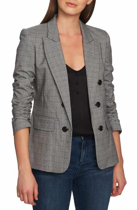 1.STATE Ruched Sleeve Glen Plaid Blazer