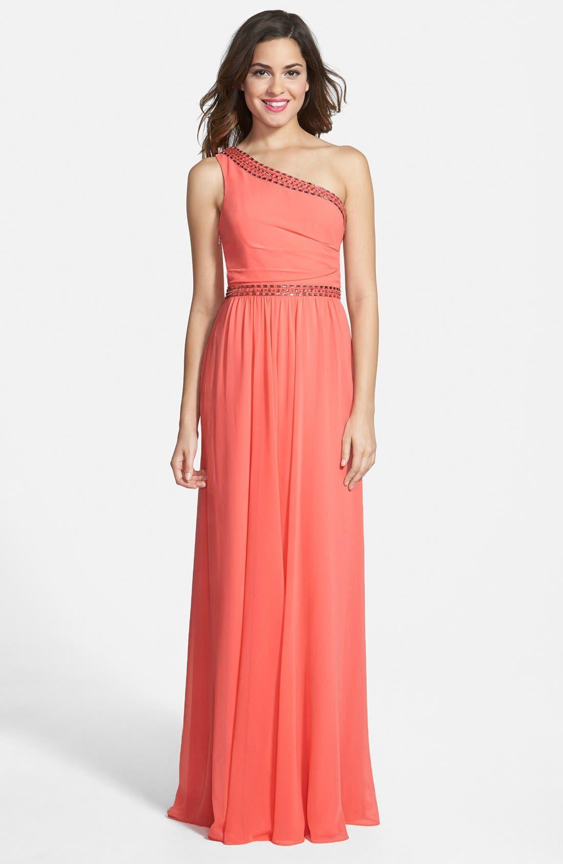 Main Image - BCBGMAXAZRIA 'Daniele' Embellished One-Shoulder Georgette Gown