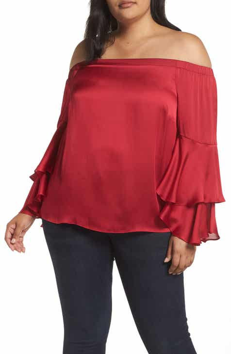 aa46aea0869 Vince Camuto Bell Sleeve Off the Shoulder Blouse (Plus Size)