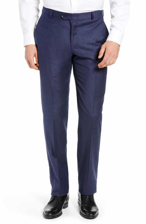 Hickey Freeman Classic B Fit Solid Flannel Trousers