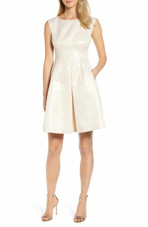 Anne Klein Champagne Dot Fit & Flare Dress