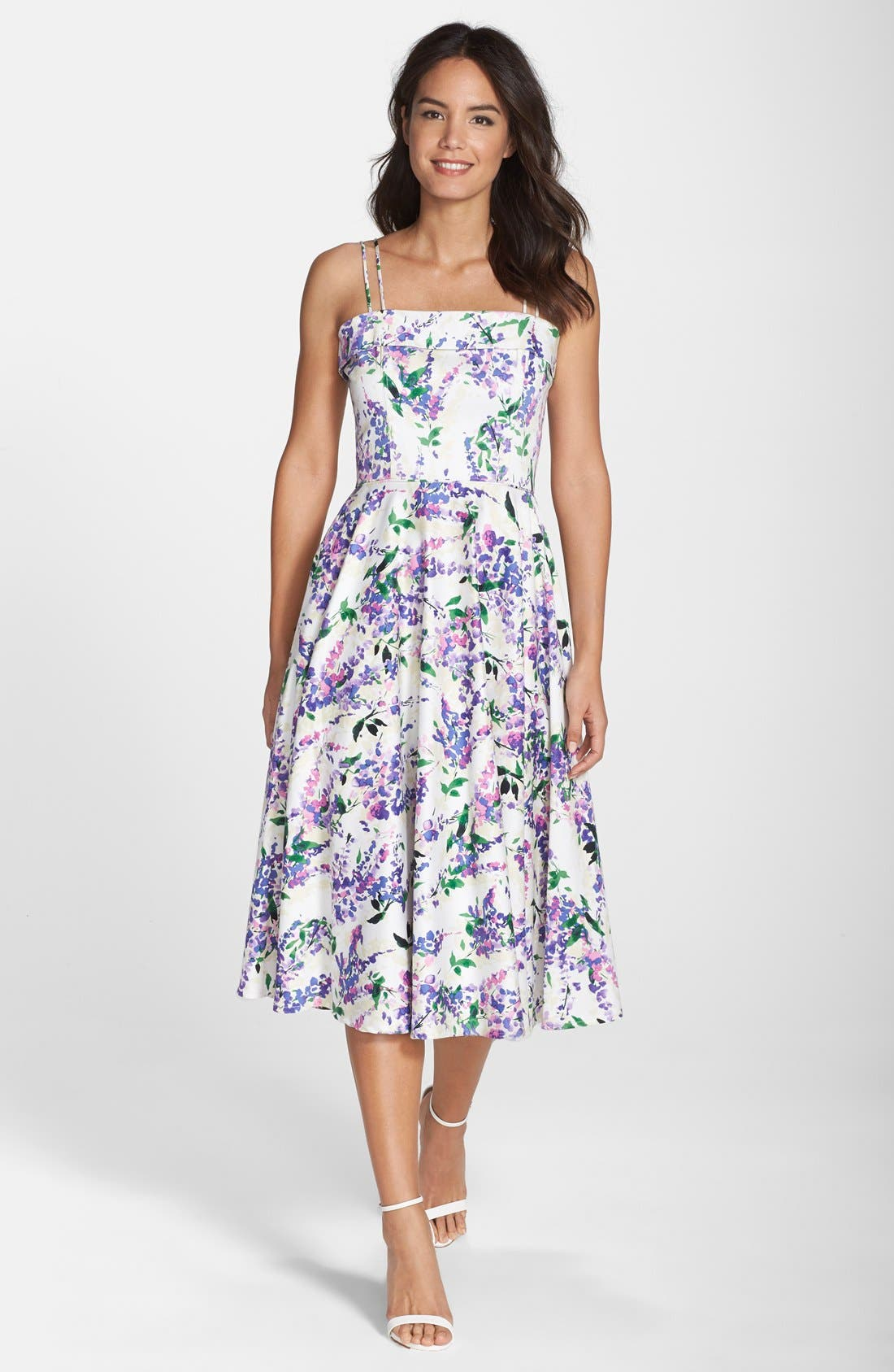 Maggy London Floral Print Fit Flare Midi Dress Regular
