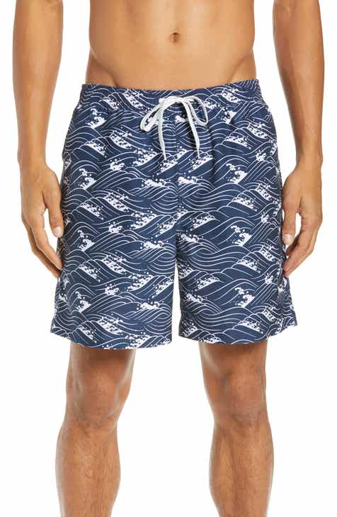 190135c0f57f 1901 Wave Print Swim Trunks