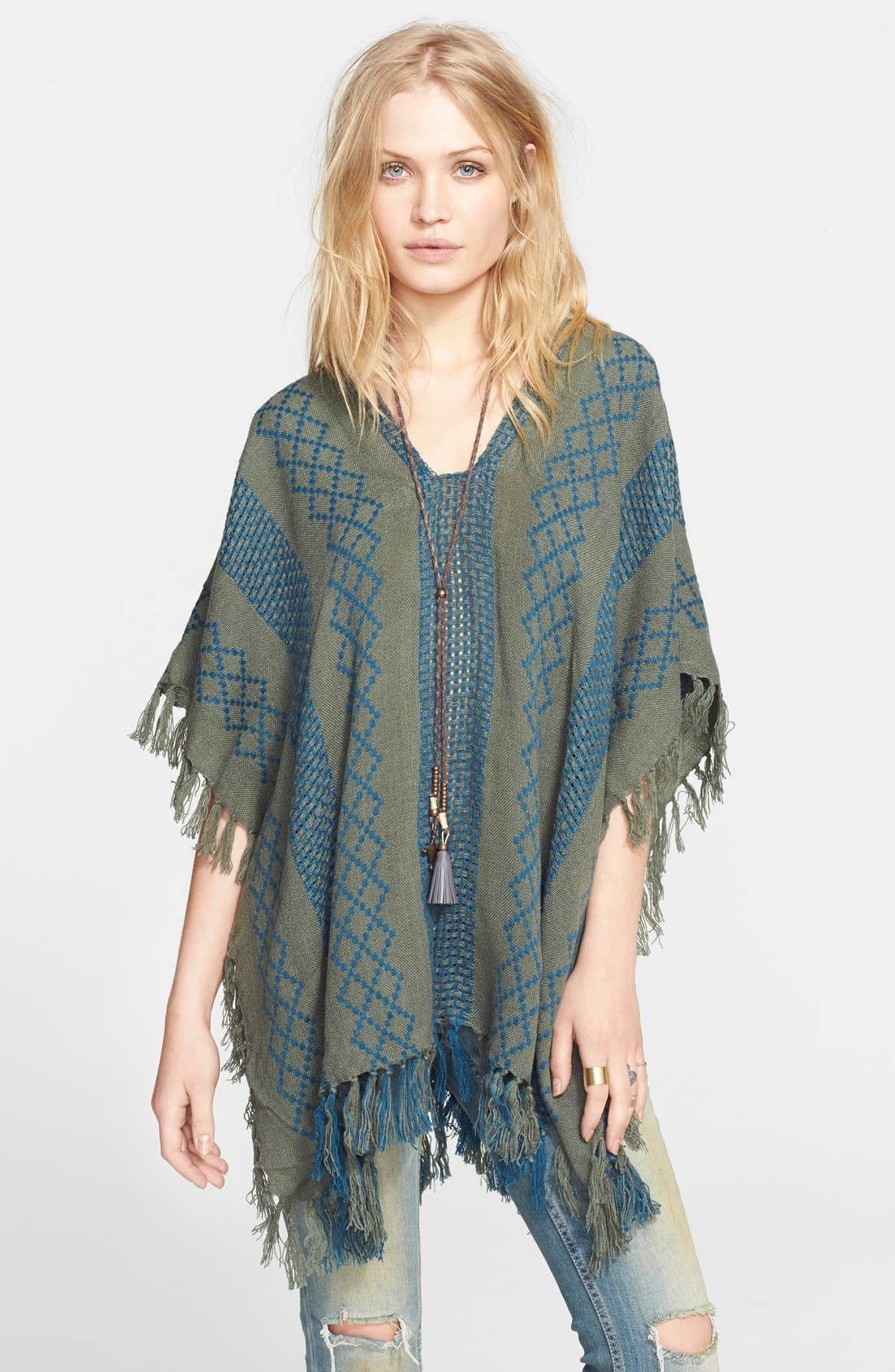 Alternate Image 1 Selected - Free People Woven Pattern Poncho