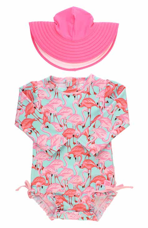 RuffleButts Flamingo One-Piece Rashghuard Swimsuit   Hat Swim Set (Baby) 53905cd51e4