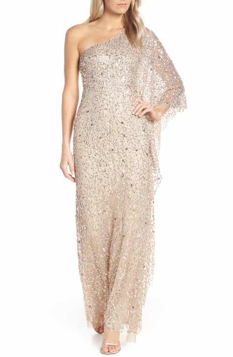 Adrianna Papell One-Shoulder Beaded Evening Dress 3fcf1d8281