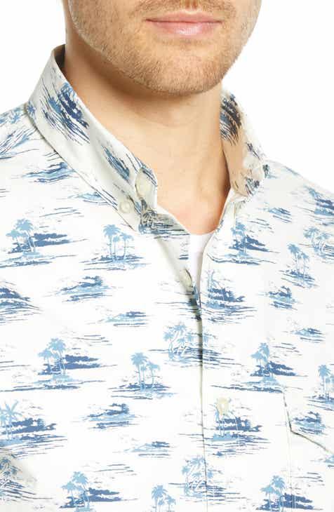 1901 Blue Islands Print Sport Shirt