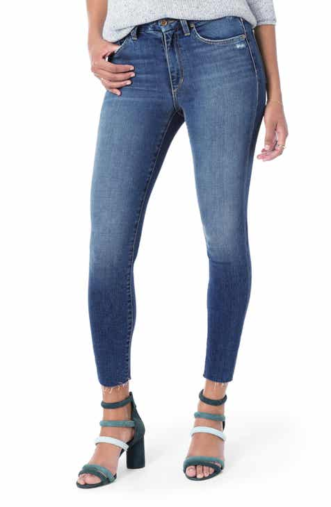 Joe's Honey Curvy High Waist Raw Hem Ankle Skinny Jeans (Quinley) by JOES