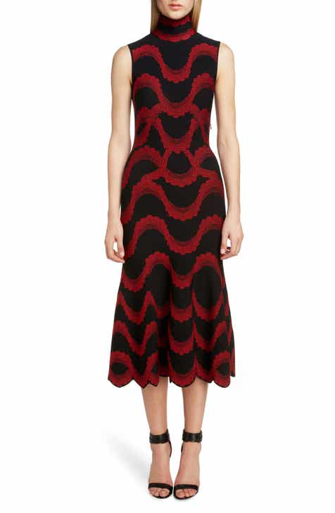 Alexander McQueen Wave Jacquard Midi Dress by ALEXANDER MCQUEEN