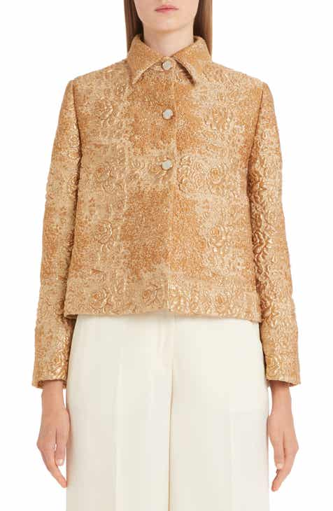Valentino Floral Metallic Brocade Swing Jacket by VALENTINO