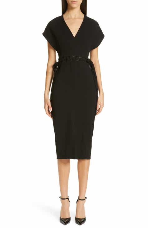 Lela Rose V-Neck Wool Crepe Dress by LELA ROSE