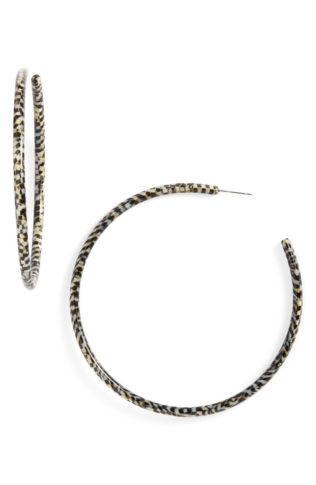 L Erickson 'Jumbo' Hoop Earrings,                         Main,                         color, Opera Silver