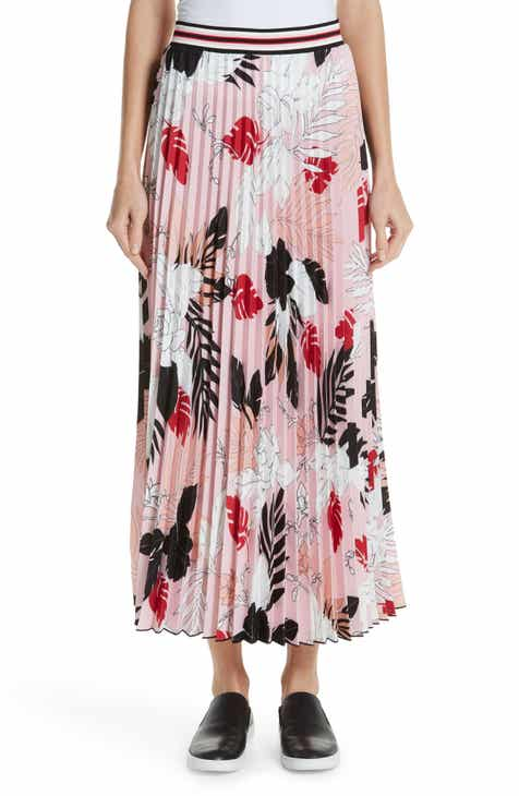 Fuzzi Print Pleat Maxi Skirt by FUZZI