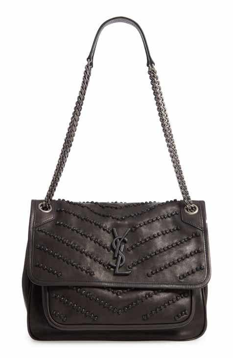 cb22498047 Saint Laurent Mediuim Niki Knot Detail Lambskin Leather Shoulder Bag
