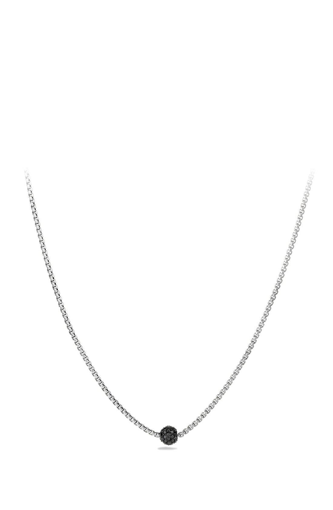 'Petite Pavé' Necklace with Diamonds,                         Main,                         color, Black Diamond